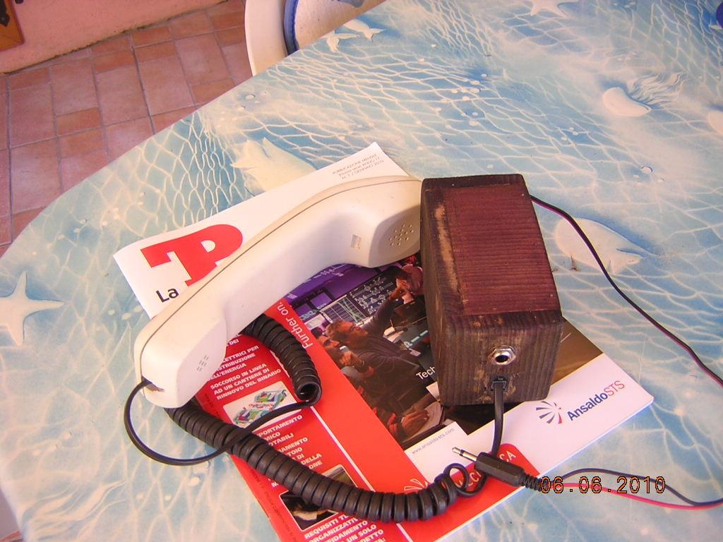 ricevitore telefonico  adattato ad alta impedenza, autocostruito