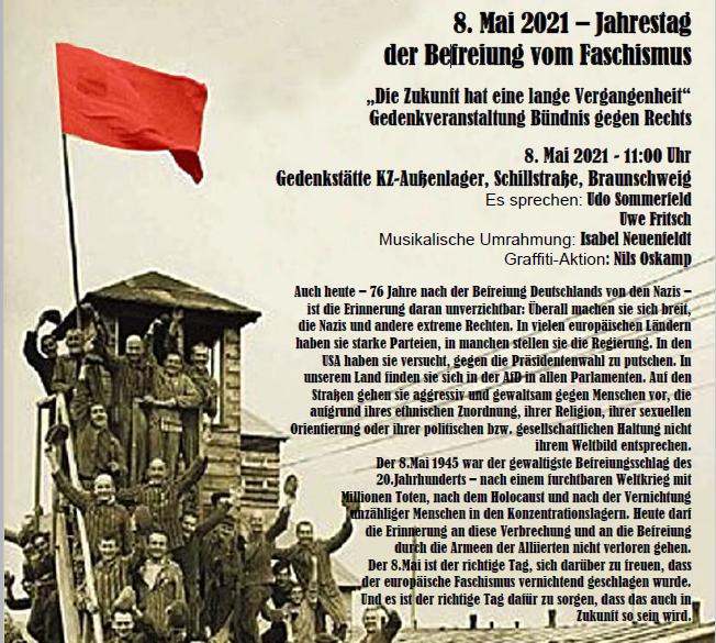 8.Mai (Jahrestag der Befreiung) – unsere Antwort auf Querdenker und extreme Rechte!  Gedenkveranstaltung und Aktion Stolpersteine