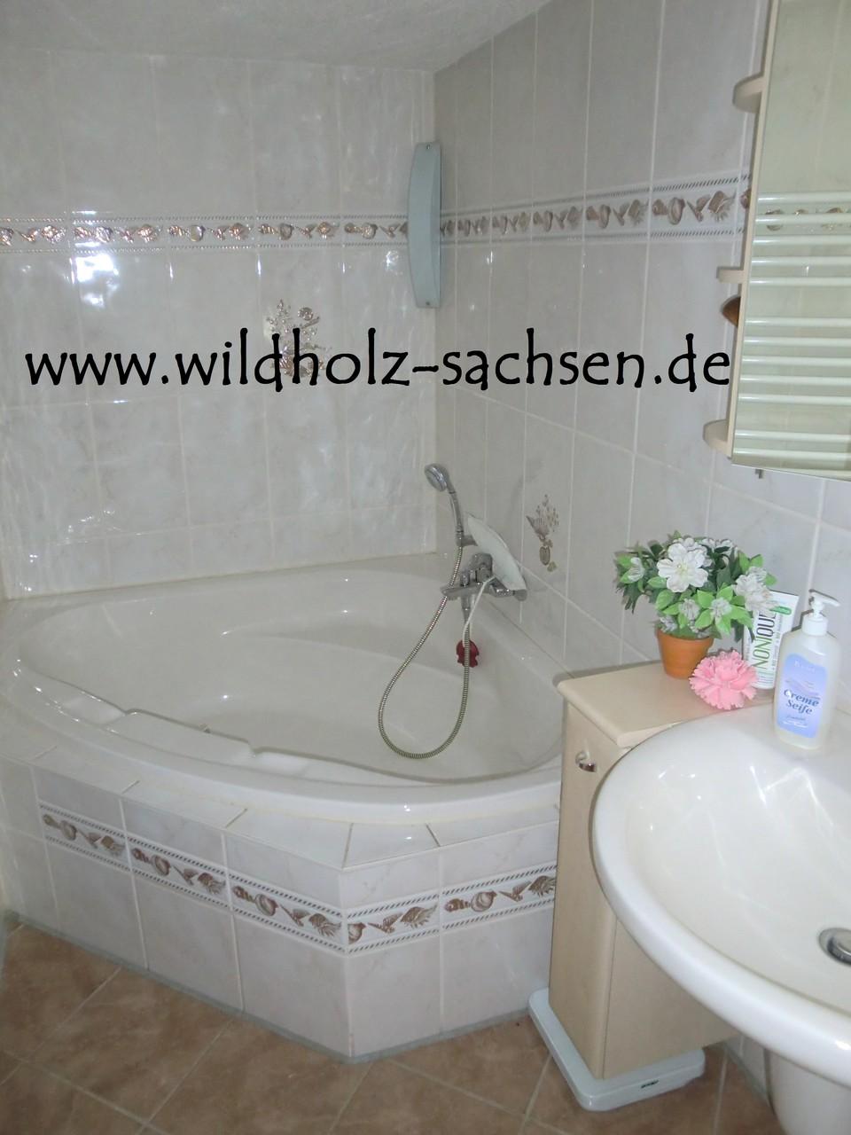 Bad mit großer Wanne, Dusche, WC