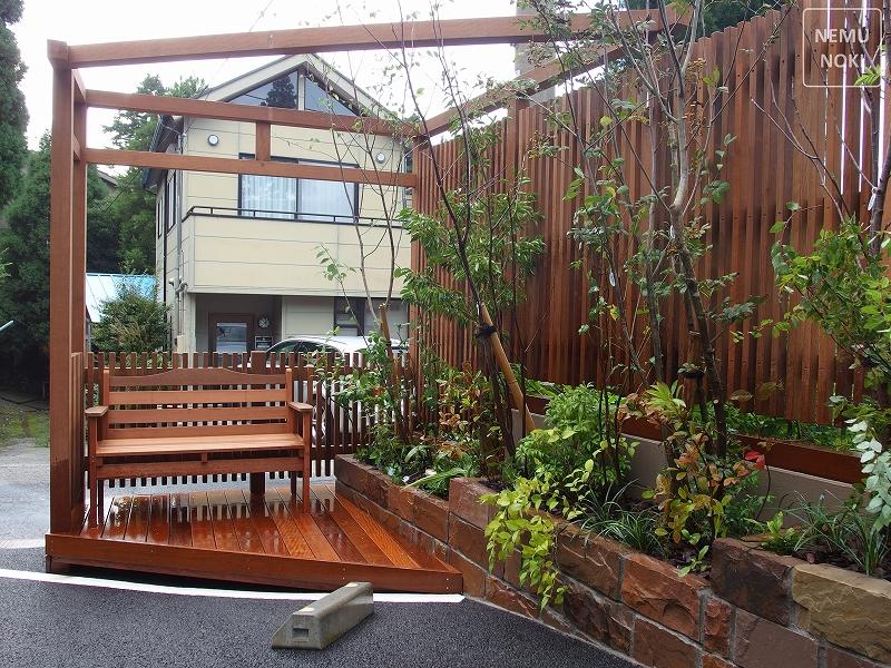 ウッドフェンス、ガーデン、エクステリア、ウッドデッキ、施工例
