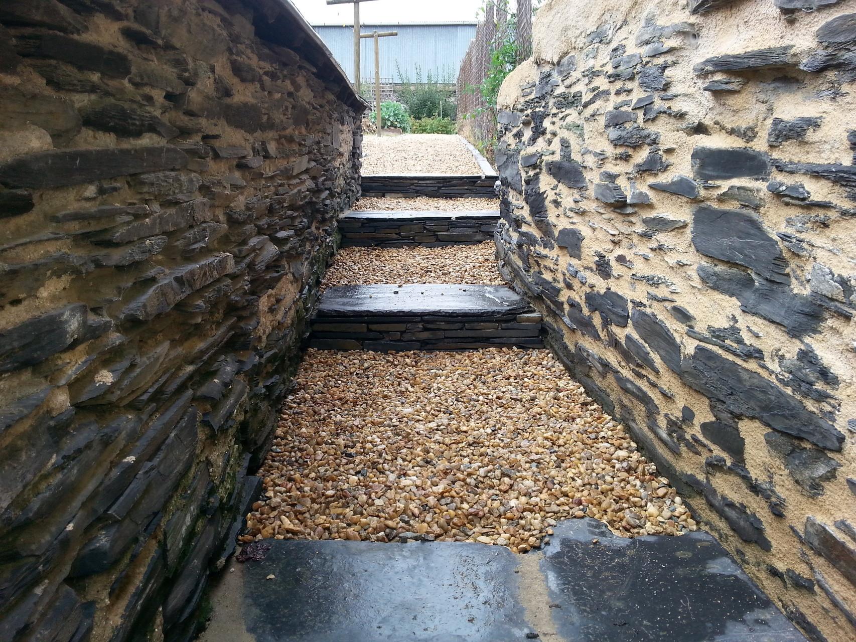Escalier et muret en ardoise