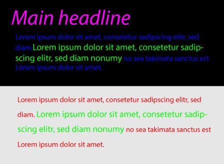 Esempio di pessima scelta di colori nei testi di un sito