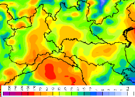Apporti pluviometrici previsti da lunedì a domenica