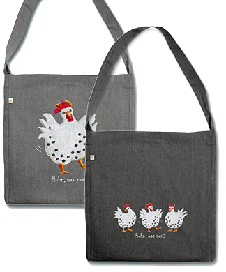 Gute-Laune-Geschenke, entzückende Recycling Tasche, Huhn, was nun?, Gisela Rott, Lebenskunst-edition, ichrondelle, Künstlerhof Lavesum
