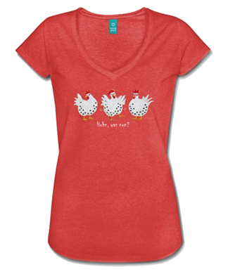 Gute-Laune-Geschenke, entzückendes Damen T-Shirt, Huhn, was nun?, Gisela Rott, Lebenskunst-edition, ichrondelle, Künstlerhof Lavesum
