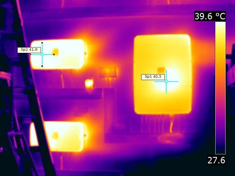 IR Aufnahme eines Wechselrichterstandortes und deren thermischen Verhalten