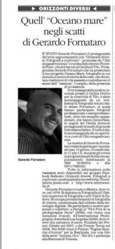 Il Quotidiano della Basilicata, 20 aprile 2013