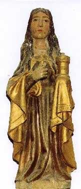 Marie Madeleine en pierre sculptée et polychrome du XVe.