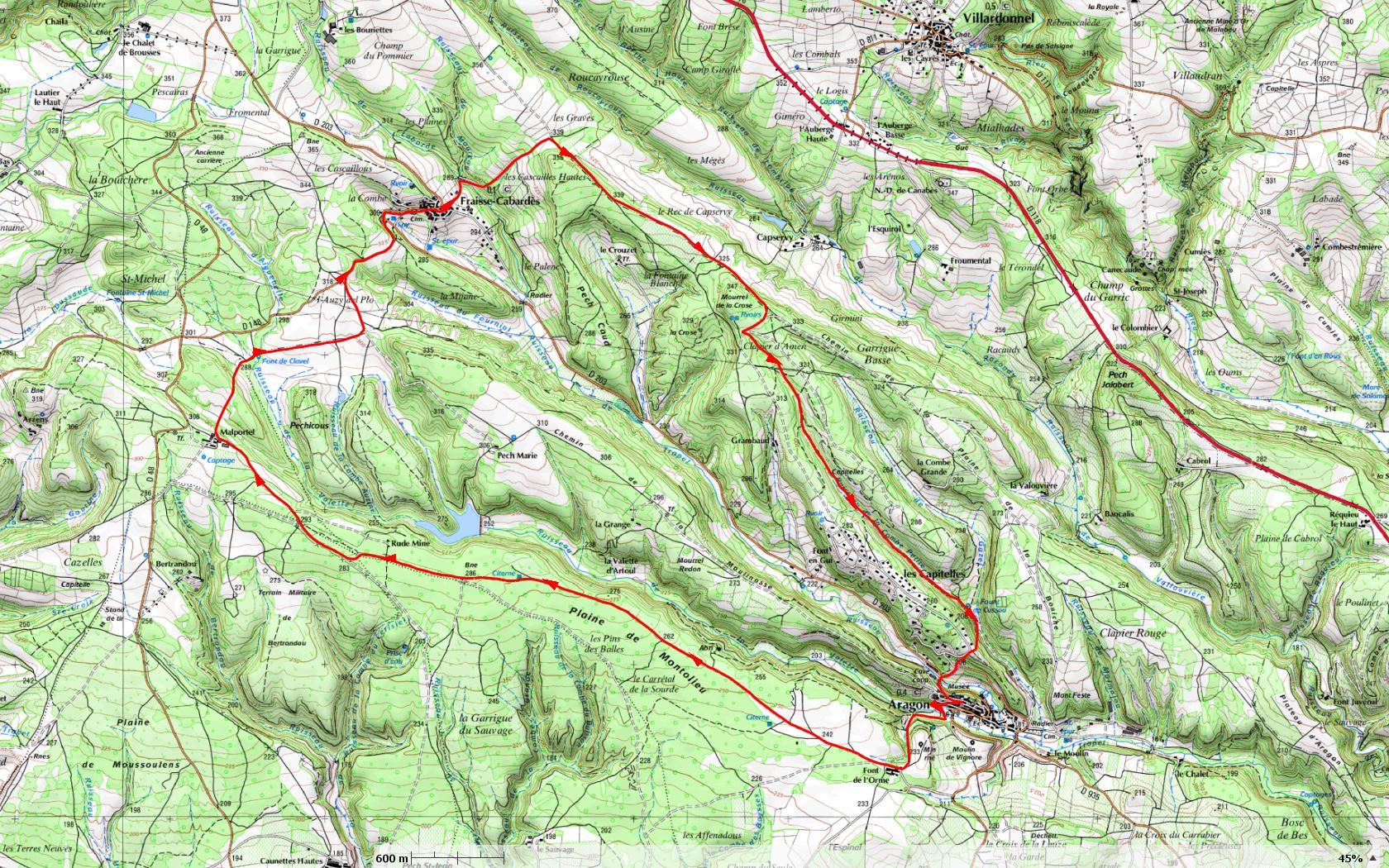 itinéraire suivi à la rando d'Aragon