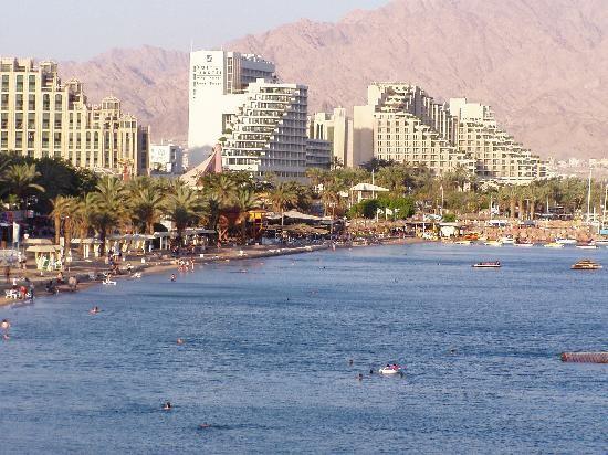Aqaba, les hotels d'Eila en face en Israël