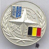 VN pin,in gebruik tot 2008 in het hoofdkwartier in Kosovo, dit is de Belgische versie.