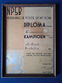 Diploma voetballen voor de GP Leeuwarden, 1933