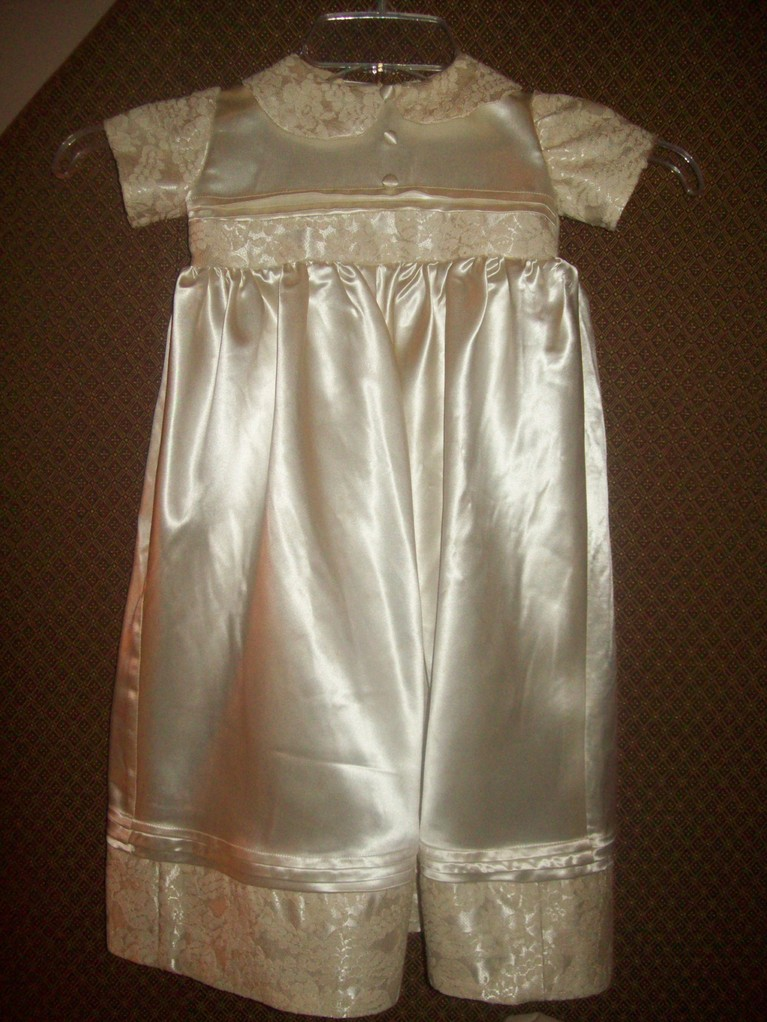 Christening gown fashioned from grandmother's wedding gown
