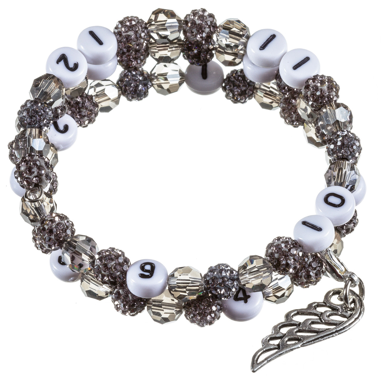 Stillarmband Grey Strass-/Glasschliffperlen