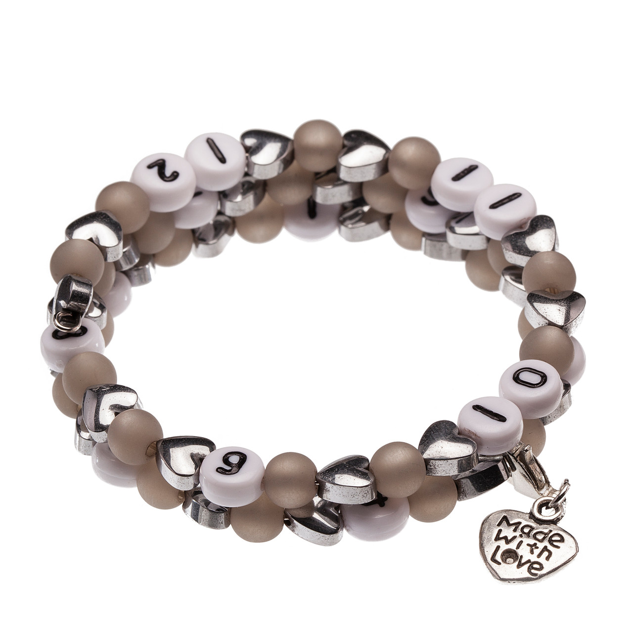 Stillarmband Hearts in grau