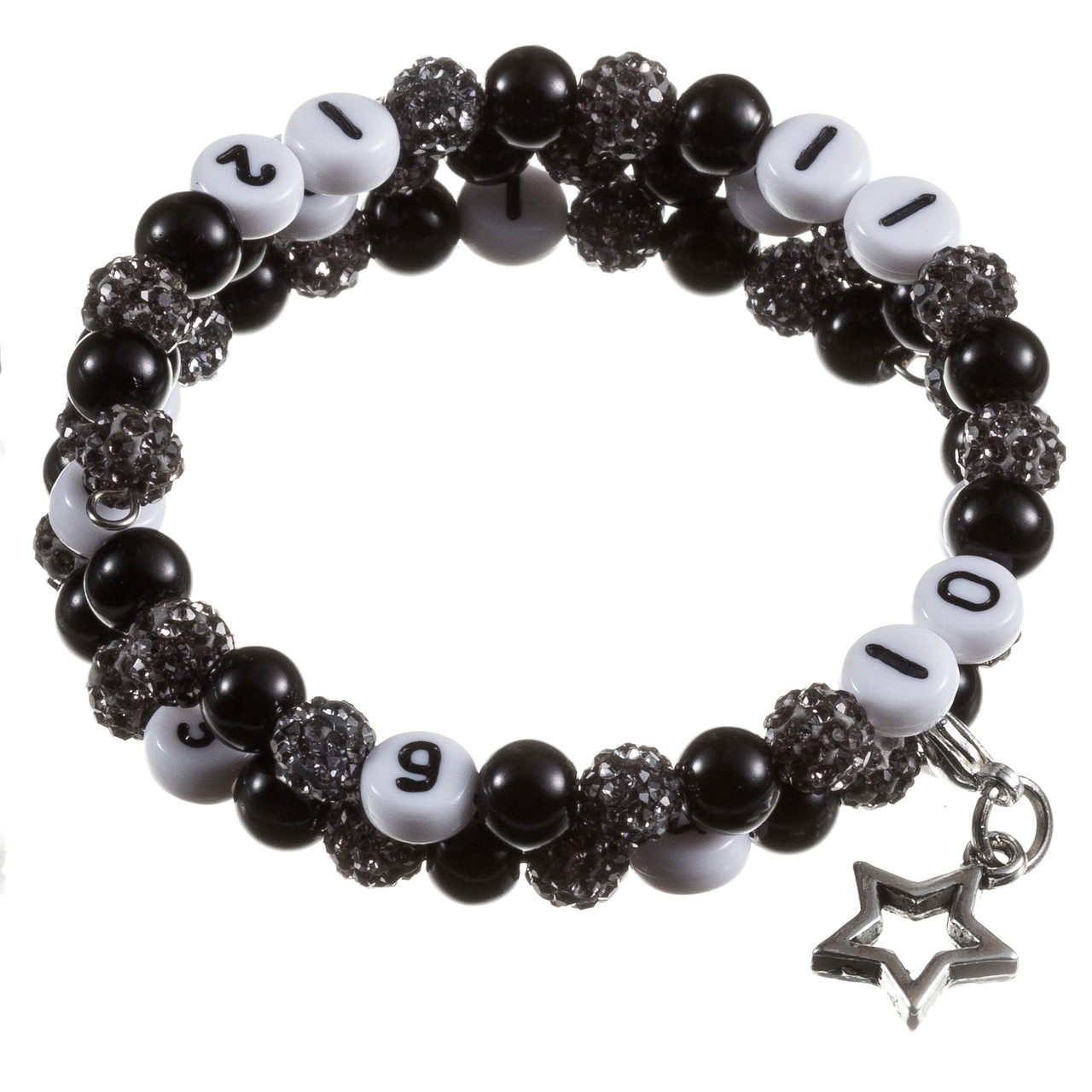 Stillarmband Black Strass-/Glaswachsperlen