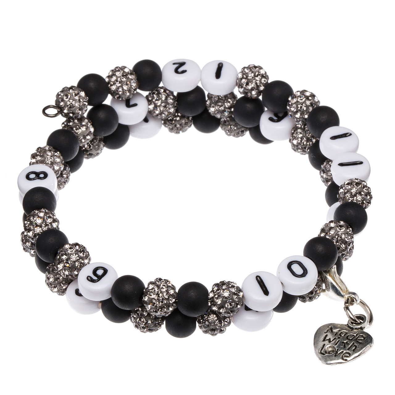 Stillarmband Black Strass-/Polarisperlen