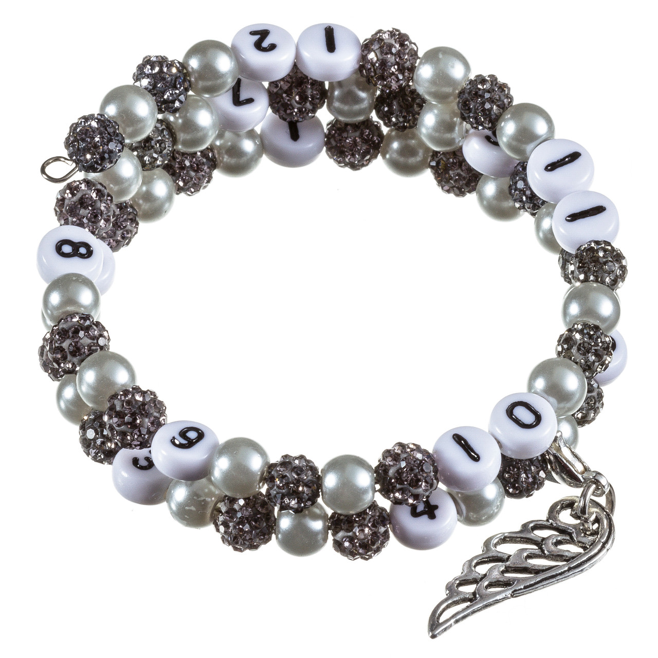 Stillarmband Grey Strass-/Glaswachsperlen