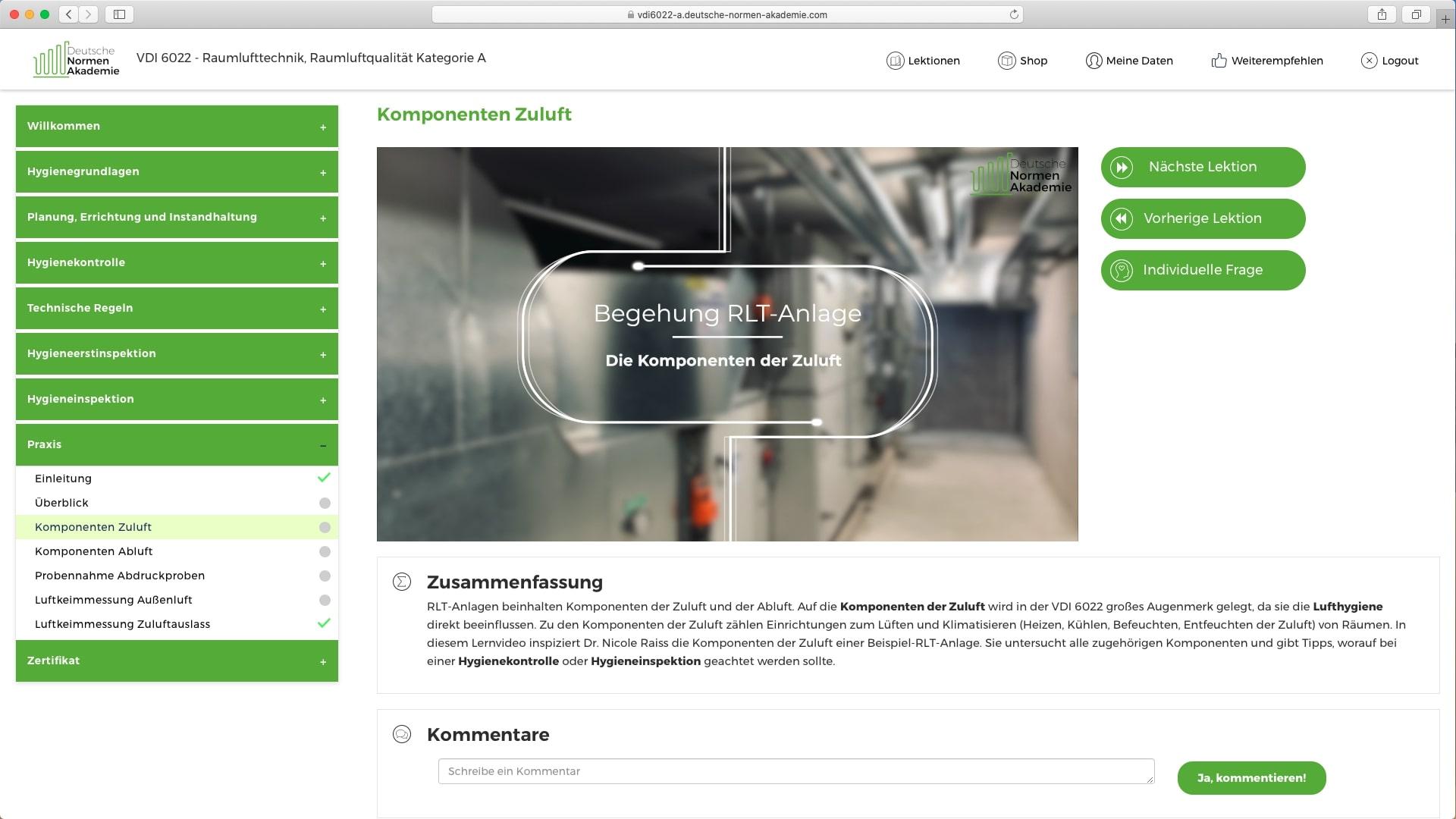 Die VDI 6022 Online-Schulung mit wichtigen Praxislektionen: Inspektion einer RLT-Anlage