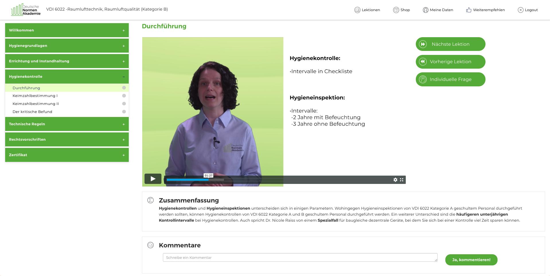Einfache Navigation im Kapitelmenü des Onlinekurses und Zusammenfassung jedes Lernvideos