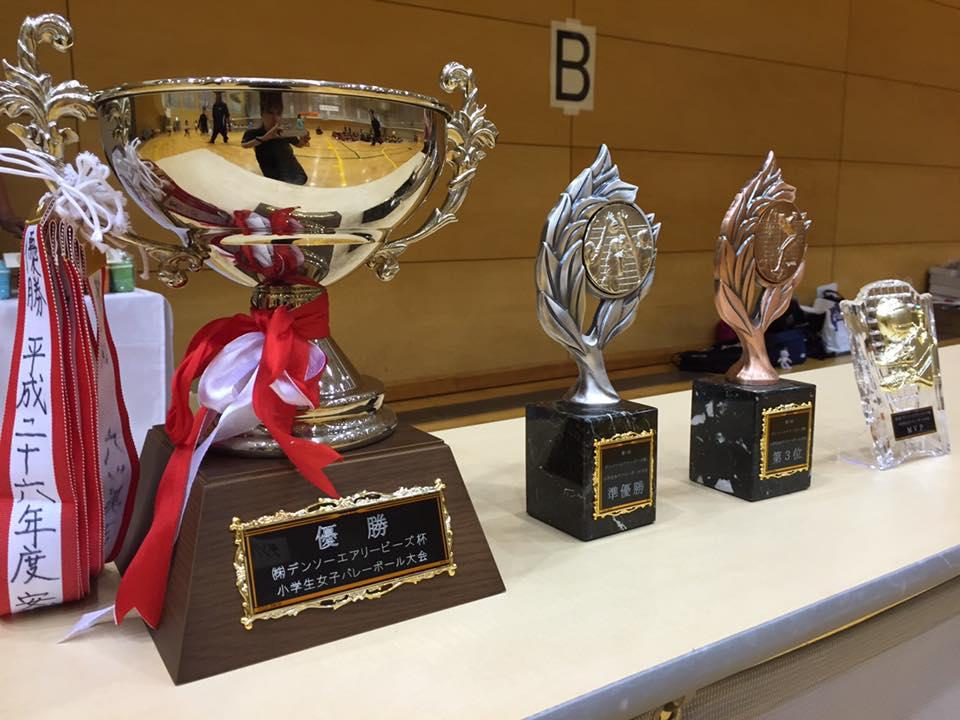 上位3チーム・MVPに贈呈される記念カップ・表彰楯