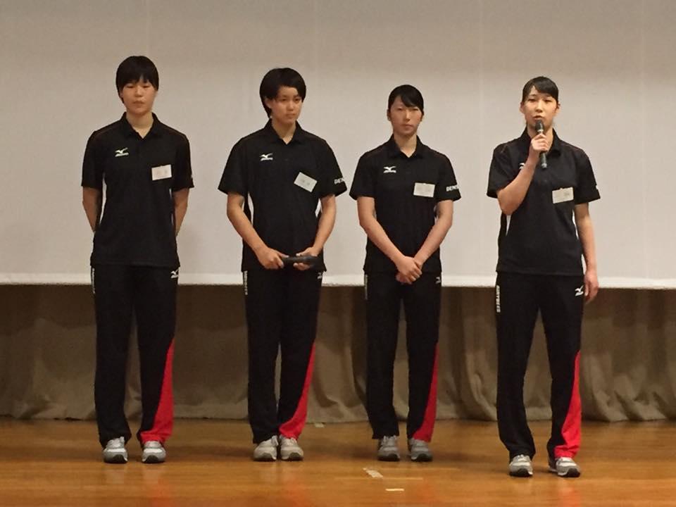 自己紹介(左から 中元選手・工藤選手・中川選手・小口選手)
