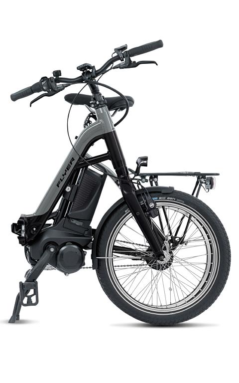 Flyer E-Bike Pluto Tiefeinsteigerrahmen pearl black silver dark cool gefaltet