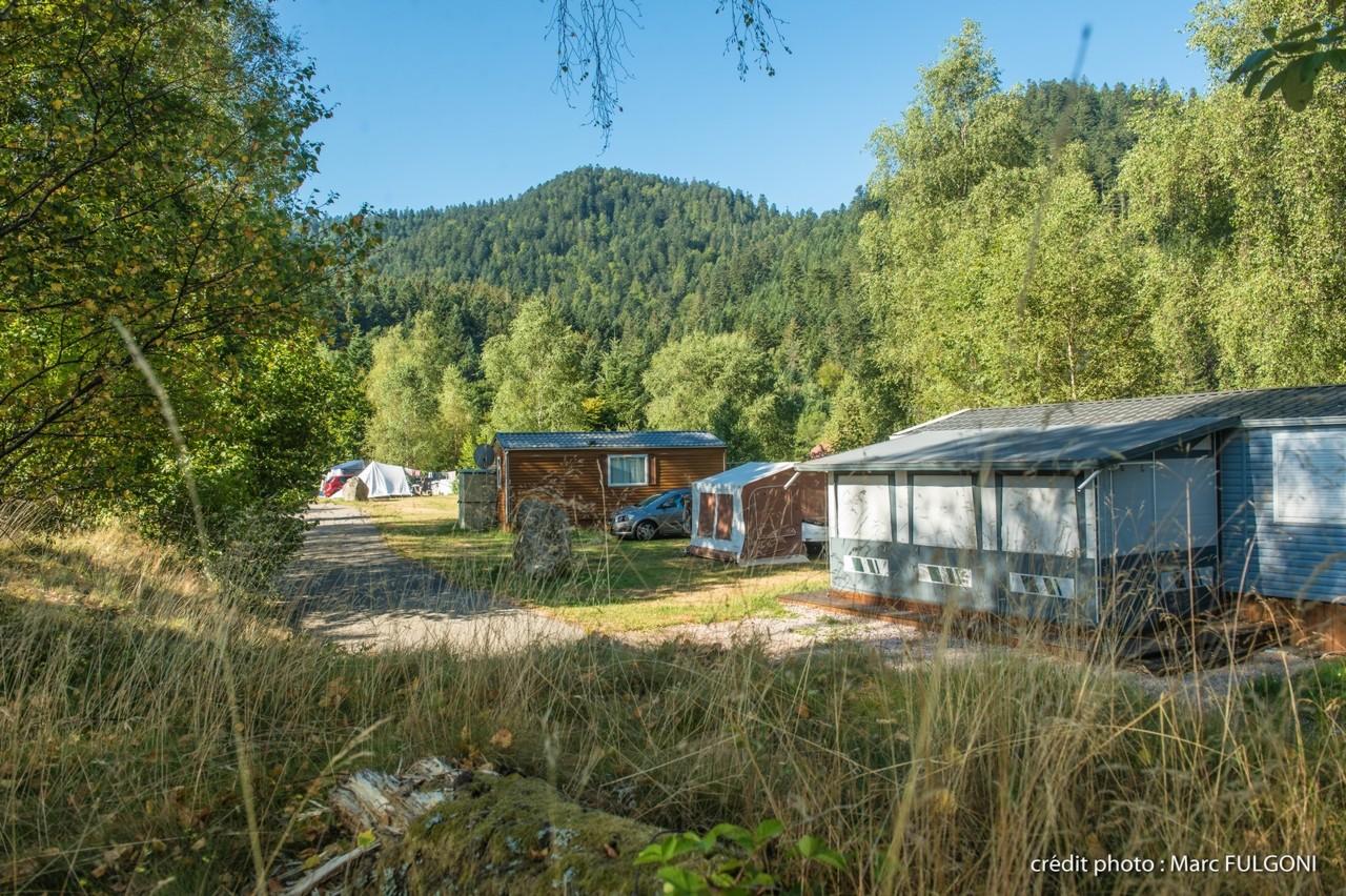 emplacement semi-ombragé pour tente en été avec électricité