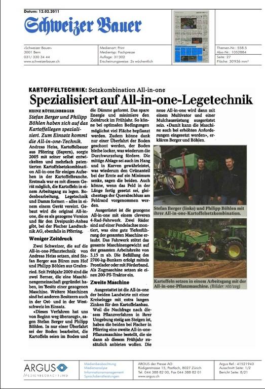 Artikel aus dem Schweizer Bauer vom 12.02.2011