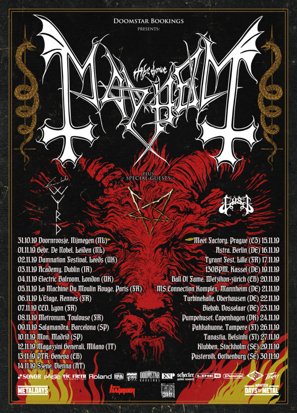 """Soon after the release of """"Daemon"""" Mayhem will embark on a European headline tour with special guests Gaahls Wyrd and Gost. Please find the dates below:"""