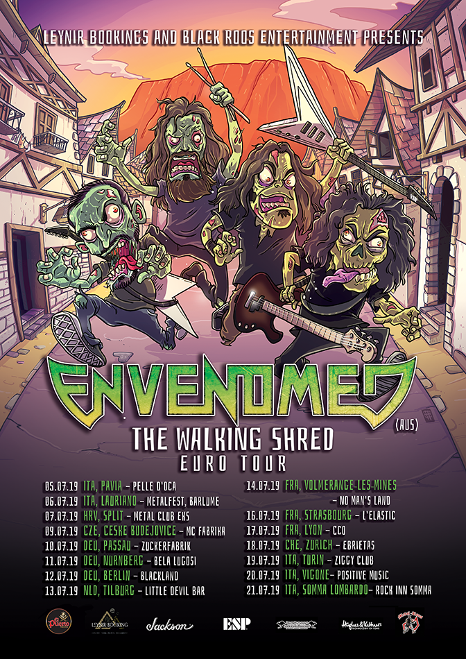 ENVENOMED, new single & video, Abandon Hope, European tour, The Walking Shred, melodic thrash metal, News Rockers And Other Animals, Rock News, HEAVY METAL, Rock Magazine, Rock Webzine, rock news, sleaze rock, glam rock, hair metal