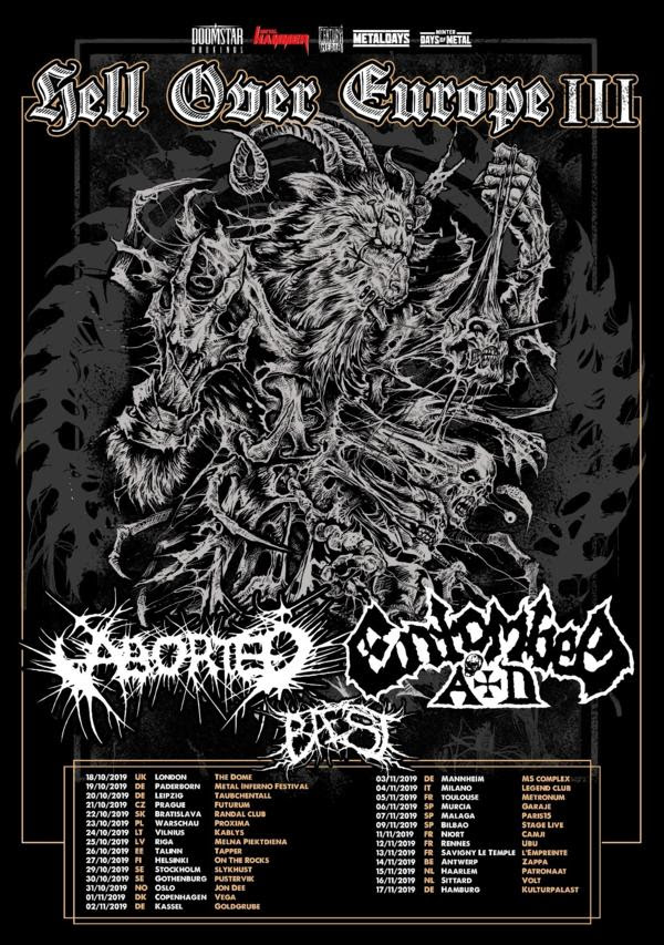 Century Media Records, ABORTED, ENTOMBED A.D.,BAEST, Hell Over Europe III Tour 2019, News Rockers And Other Animals, Rock News, Rock Magazine, Rock Webzine, rock news, sleaze rock, glam rock, hair metal, heavy metal