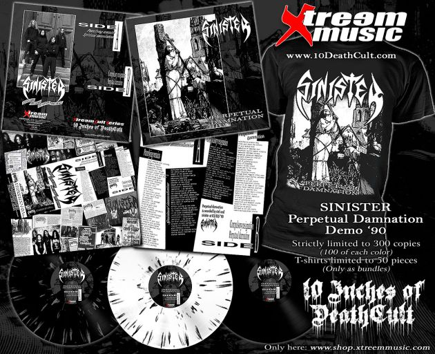 "SINISTER, Pre-order, 10"" vinyl, T-Shirt, European Death Metal, demos, Perpetual Damnation, rockers and other animals, news, Xtreem Music"