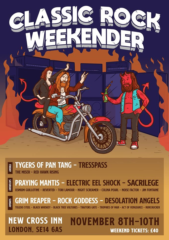 SACRILEGE, New Cross Inn, Classic Rock Weekender, Saturday 9th November, Bill Beadle, Neil Turnbull, Paul Macnamara, Jeff Rolland,The Court Of the Insane, Tygers Of Pan Tang,Trespass, Praying Mantis', Desolation Angels,rockers and other animals