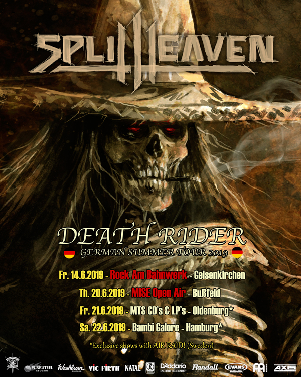 pure steel Split Heaven German Summer Tour 2019 Air Raid  Steel Crusher Exumer, Tankard, Holy Moses, Darkness, Parasite Inc., Rockers And Other Animals, Rock News, Rock Magazine, Rock Webzine, rock news, sleaze rock, glam rock, hair metal,Screamer