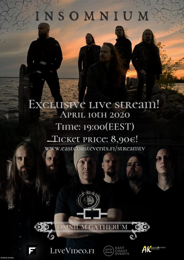 INSOMNIUM, OMNIUM GATHERUM,  melodic death metal, live stream concert,Century Media Records, rockers and other animals, news