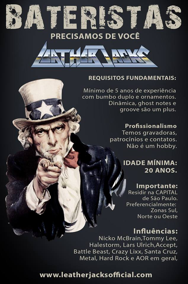 The modern hard rock - heavy metal Brasilian band LeatherJacks, is looking for a drummer