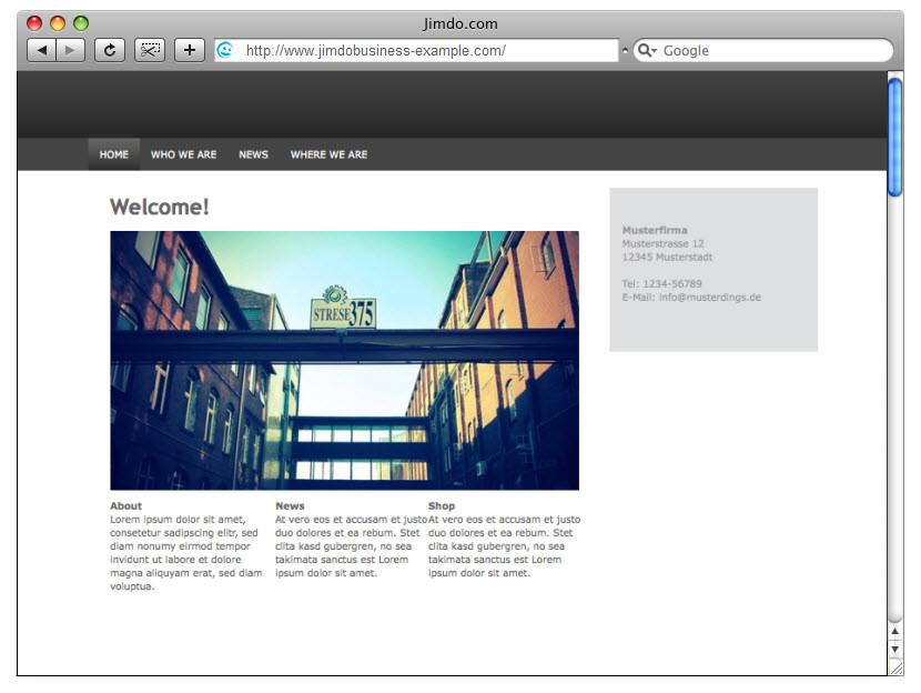 Design-Beispiel, JimdoBusiness #2