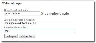 Screenshot: E-Mail Weiterleitungen verwalten