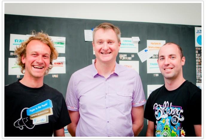 von links nach rechts: Jimdo-Mitgründer Fridtjof, David J. Anderson und Michi Lehr