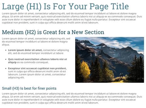 Überschriften in drei Größen (H1, H2, H3) gliedern eure Webseite.