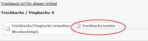 """Klick auf """"Trackbacks senden"""" unterhalb deines eigenen Blog-Artikels"""