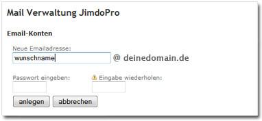 Screenshot: Wunsch-Mailadresse eingeben und speichern