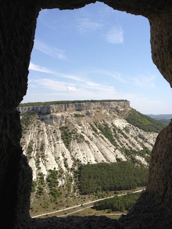 Aussicht von der Felsenstadt in die Berge der Krim