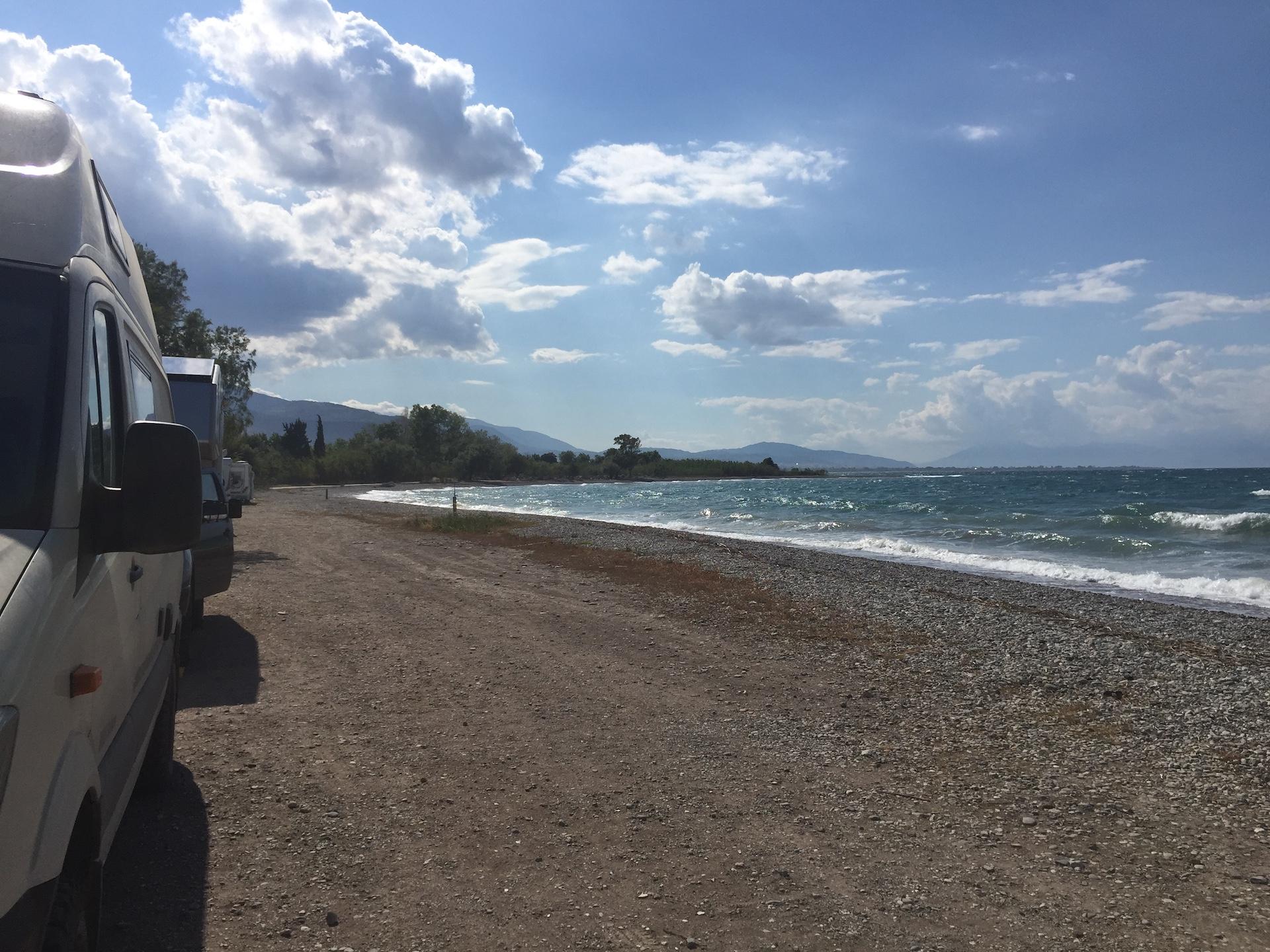 unser erster Stellplatz in Griechenland....