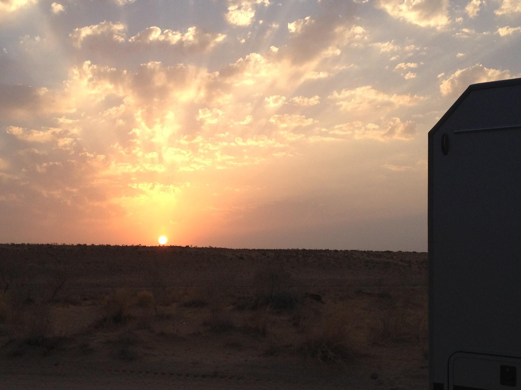 Sonnenaufgang beim Gaskrater