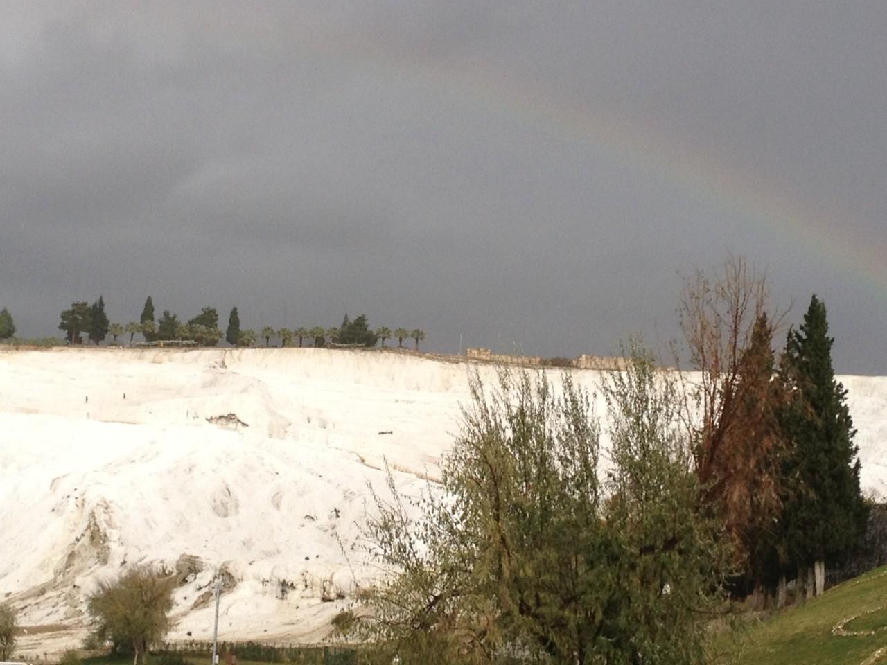 Ankunft in Pamukkale mit Regenbogen