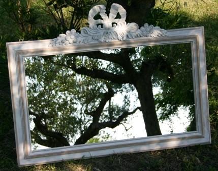 specchio specchio orizzontale in legno massello trattato shabby con ...