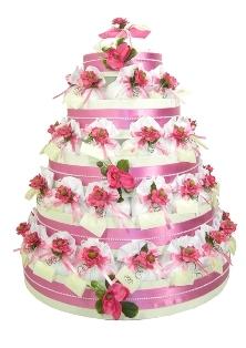 Torta composta da 90 sacchetti con decorazione fiori
