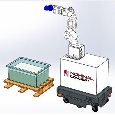 Chariot Autonome avec Top Module équipé d'un robot NOMIBOT